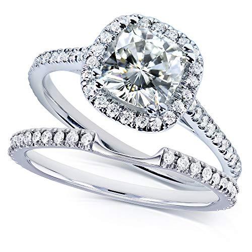 Kobelli Moissanite and Lab Grown Diamond Halo Bridal Rings Set 1 1/2 CTW in 14k White Gold (HI/VS, DEF/VS), 4.5