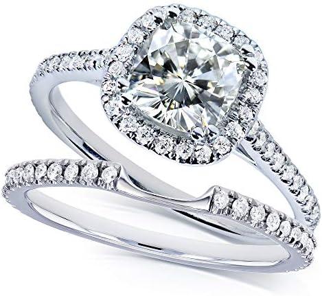 Kobelli Moissanite and Lab Grown Diamond Halo Bridal Rings Set 1 1/2 CTW in 14k White Gold (HI/VS, DEF/VS)