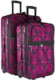 Black Pink Damask 2 Piece Luggage Set