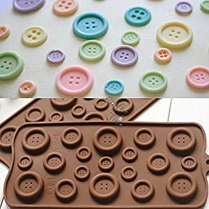 Ainest 1x DIY Button Shaped Chocolate Fondant Mold Silicone Molds Mould Cake Decor Tool