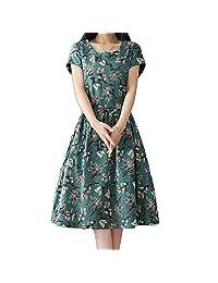 Filfeel Vestido de Mujer, Estampado Floral de Moda Casual, Cuello Redondo Un Vestido Largo de Manga Corta(M-Verde Oscuro)