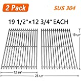 """SHINESTAR Grill Grates 19 1/2"""" Replacement Parts for Weber Genesis E-330/S-310/S-330 (2013 and Newer), Kenmore, Uniflame, and DCS, Solid Stainless Steel Cooking Grids (19 1/2"""" x 12 3/4"""" Each, 2 Pack)"""