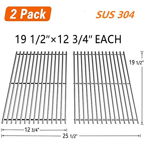 """SHINESTAR Grill Grates 19 1/2"""" Replacement Parts for Weber Genesis E-330/S-310/S-330 (2013 and Newer), Kenmore, Uniflame, and DCS, Solid Stainless Steel Cooking Grids (19 1/2"""" x 12 3/4"""" Each, 2 Pack) -"""