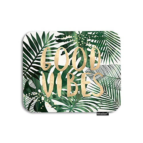 Moslion Palm Leaf Mouse Pad Tropical Jungle Forest Palm Tree Leaves Good Vibes Word Gaming Mouse Pad Rubber Large Mousepad for Computer Desk Laptop Office Work 7.9x9.5 Inch Green (Palm Computer)
