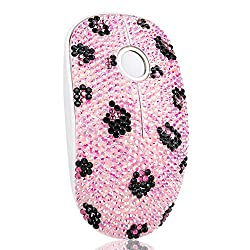 Pink Rhinestone Wireless Mouse with USB Receiver