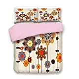 Eastern King Vs King Pink Duvet Cover Set,King Size,Eastern Floral Arrangement with Cute Little Bird on Top Colorful Image Decorative,Decorative 3 Piece Bedding Set with 2 Pillow Sham,Best Gift For Girls Women,Beige Orang
