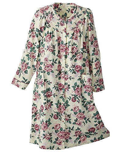 National Flannel House Coat, Pink Floral, Small - Misses, Womens - Lady Housecoat