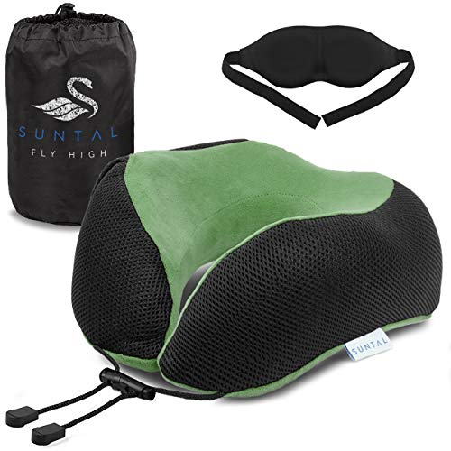 SunTal Ultimate Comfort Travel Pillow + Eye Mask – Prevent Neck Pain – Memory Foam Pillow, Perfect for Airplane, Train, Bus, Car Travel – Full 360 Head & Neck Support (Green)