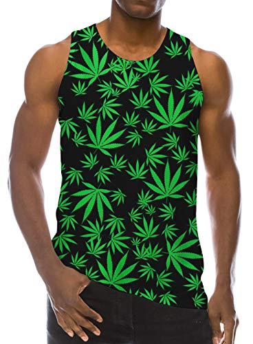 Loveternal Fun Tanks for Men 3D Galaxy Cute Green Weed Leaf Tank Tops Funny Graphics Crewneck Tees Guy Vacation Sport Tank Tops Casual Gym Muscle Sleeveless Athletic T-Shirt Underwaist XXL