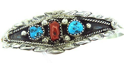 avajo Artist Les Hill: Beautiful! Genuine Navajo Turquoise-Coral Women's Bracelet ()