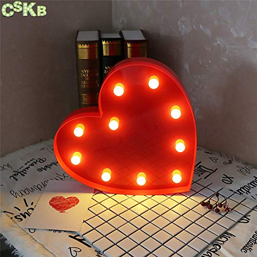 CSKB LED Marquee Letter Lights 26 Alphabet Light Up Marquee Letters Sign For Wedding Birthday Party Battery Powered Christmas Night Light Lamp Home Bar Decoration (Heart Red)