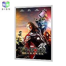 "24""X36"" Backlit Movie Poster Art Picture Frame Led Light Box With Aluminum Snap Photo Frame Sign Holder (White)"