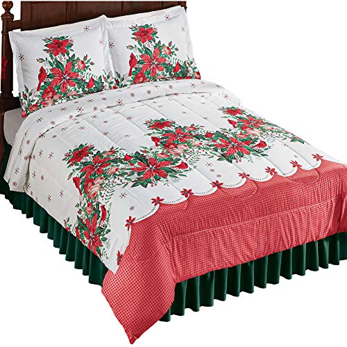 Holiday Poinsettia Garland Comforter Set with Plaid Pattern Accents and Red Snowflakes - Seasonal Bedroom Decor (Garland Winston)