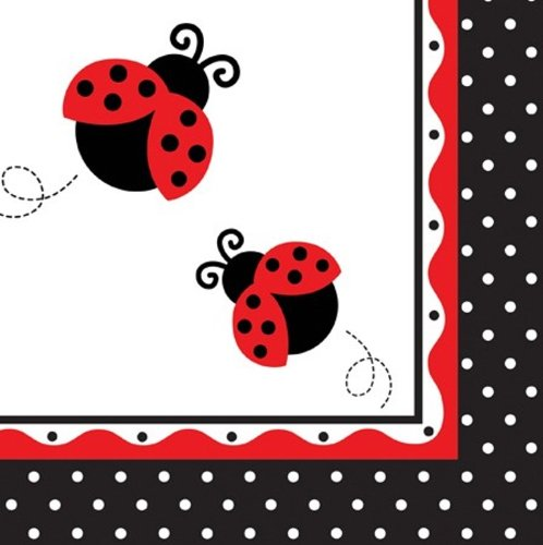 Creative Converting Ladybug Fancy Luncheon Napkins, 16-Count