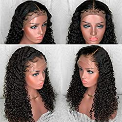 Yiyuan Hair Lace Front Human Hair Wigs For Black Women Brazilian Curly Virgin Hair Wigs With Bleached Knots Glueless Full Lace Front Wig With Baby Hair (20in With 150% Density, Lace Front Wig)