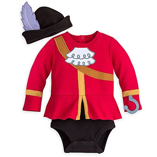 Disney Captain Hook Costume Bodysuit for Baby - Size 6-9 MO Red ()