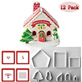 (Set of 12) 8pcs Christamas Gingerbread House Cookie Cutter and 4pcs Printing Mould Make The Easiest Christamas House Christmas Tree Christmas Snowman