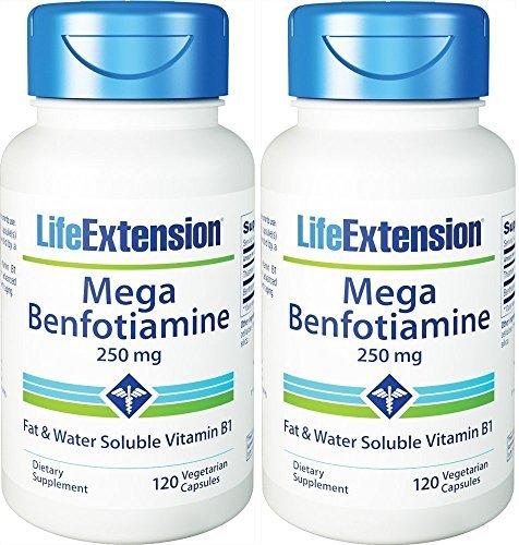 Life Extension Mega Benfotiamine Capsule, 250 Mg , 120 Vegetarian Capsules 2 Bottles by Life (Vegetarian Mega Vitamin)