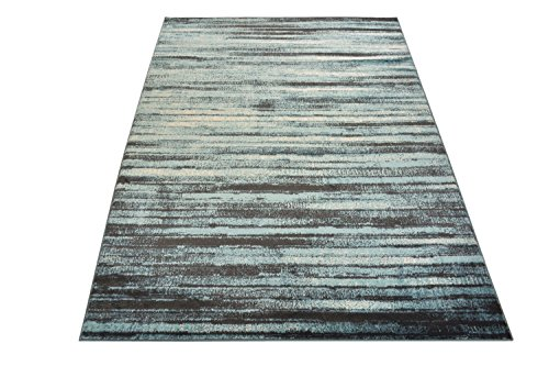 (Studio Collection Vintage Distressed Stripes Abstract Design Contemporary Modern Area Rug Rugs 3 Different Color Options (Stripes Aqua Blue, 5 x 7))