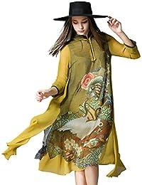 Womens Retro Oriental Mythology Prints 3/4 Sleeve Loose Button front Midi Dress