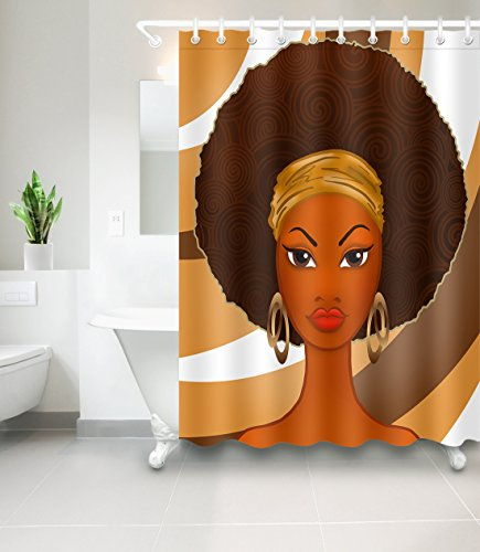 LB African American Afro Black Girl Art Shower Curtain for Shower Stall by, Black Woman Ethnic Themed Bathroom Decor Anti Mold Water Resistant Healthy Fabric Curtain, 72 x 72 Inch