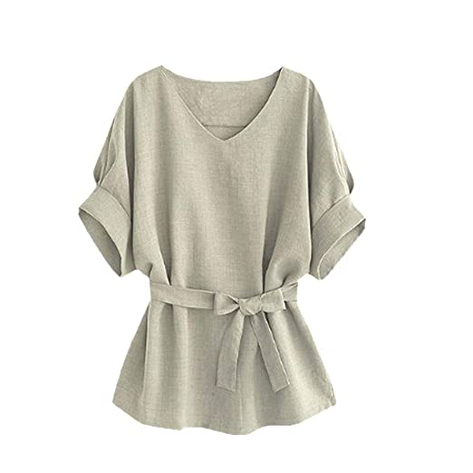 287e85d54da Women Summer Tunic Blouse, Solid Color Bat Wing V Neck Short Sleeve Casual  Loose Shirts
