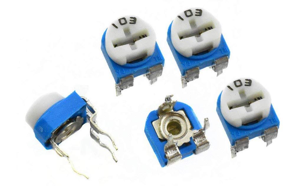 100Pcs YXQ 103 10K Ohm Horizontal Trimmer Resistor Potentiometer Mini Variable Blue White
