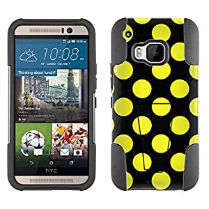 HTC ONE M9 Hybrid Case Yellow Polka Dots 2 Piece Style Silicone Case Cover with Stand for HTC ONE M9