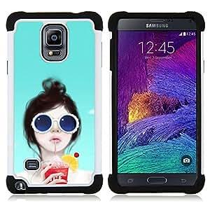 """Pulsar ( Arte Sun Beach vasos de cóctel Beach Party"""" ) Samsung Galaxy Note 4 IV / SM-N910 SM-N910 híbrida Heavy Duty Impact pesado deber de protección a los choques caso Carcasa de parachoques"""