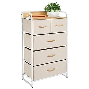 mDesign Tall Dresser Storage Chest - Sturdy Steel Frame, Wood Top & Handles, Easy Pull Fabric Bins - Organizer Unit for Bedroom, Hallway, Entryway, Closet - Textured Print, 5 Drawers - Cream/White