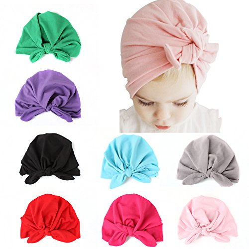 ALoveSoul 8 Pcs Newborn Baby Rabbit Ear Infant Knot Headband Toddler Soft Cute Turban Hospital Indian Hat (Turban For Kids)