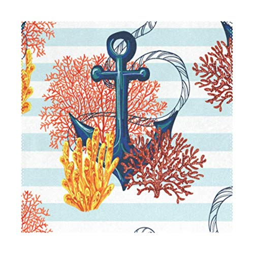 Lovexue Placemats Coral Aquatic World Ocean Sea Square Place Mats for Dining Washable Polyester Kitchen Kids Table Coffee Mats Set of -