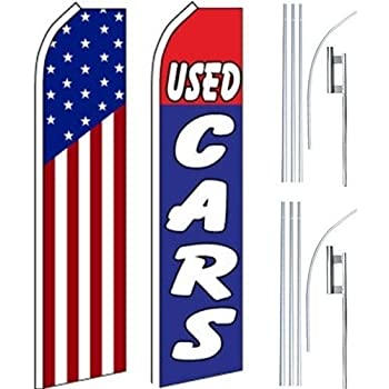 Car Auto Services Swooper Flutter Feather Flags /& Poles 2 Pack-US Flag-Parking