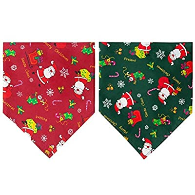 SCENEREAL Christmas Dog Bandanas Triangle Neck Scarf 2 Pack Bibs Holiday Accessories Cute Costume
