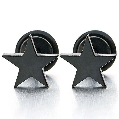 Pair Stainless Steel Black Plain Flat Star Stud Earrings for Man Boys Women, Screw Back, 2pcs