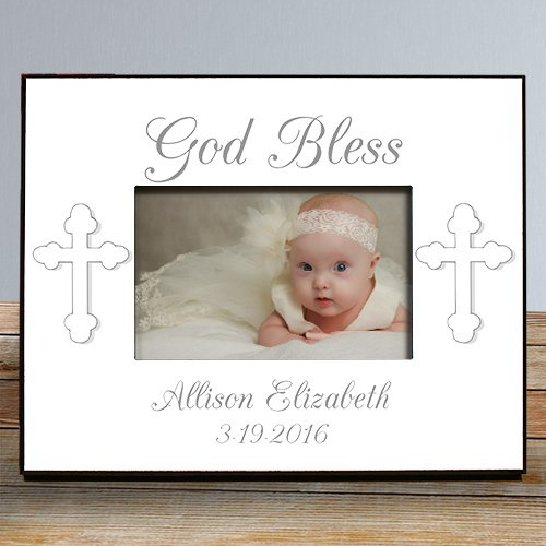 God Bless. Personalized Christening Printed Frame, Holds a 3.5
