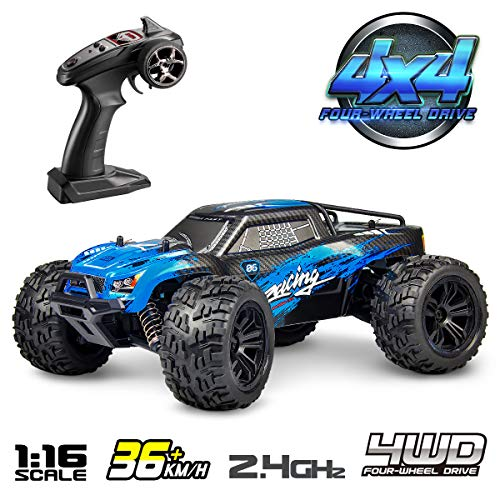 (Hosim 1:16 Scale 4WD Remote Control RC Truck G174, High Speed Racing Vehicle 36km/h Radio Controlled Off-Road 2.4Ghz RC Electronic Monster Hobby Truck Buggy for Kids Adults Birthday (Blue))
