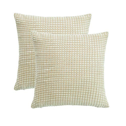SUNOOMY Square Throw Toss Pillow Cushion Covers Cases for Couch Sofa Bed Chair, Comfortable Supersoft Corduroy Corn Striped (Cream Cheese, 18''X18'',45cm,Set of 2)