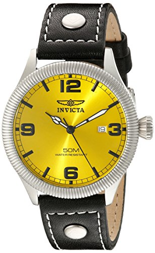 Invicta-Mens-1462-Vintage-Collection-Riveted-Leather-Strap-Yellow-Dial-Watch