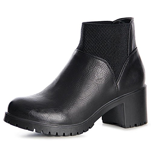 topschuhe24 991 Damen Plateau Boots Stiefeletten Schwarz