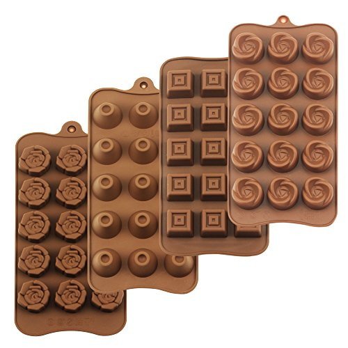 (homEdge Truffle Mold, Set of 4 Packs Food Grade Non-Stick Silicone Jelly Chocolate Candy Ice Molds)