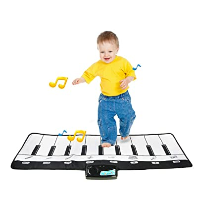 ZYAPCNGN Education Toy Piano Electronic Piano Mat Play Keyboard Musical Music Singing Gym Carpet Mat (Multicolor): Clothing