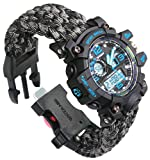 Paracord-DIY Gray Camo Paracord Watch Band Outdoor Survival Watch Bracelet with Flint Fire Starter Compass Whistle