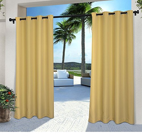 DH 2 Pieces 84 Inch Sundress Color Gazebo Curtains Set Pair, Light Yellow Solid Color Pattern Rugby Colors Outside, Indoor Pergola Drapes Porch Deck Cabana Patio Screen Entrance Sunroom Lanai Stripes