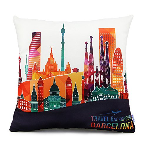 18 x 18 Standard Size Square Decorative Throw Pillow Case Cushion Cover with Barcelona Famous Buildings Print Pattern for Couch Sofa Chairs Office Home Decor - Barcelona Square
