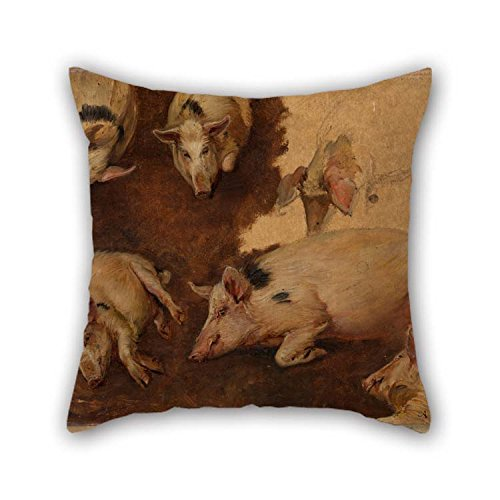 Oil Painting Anders Askevold - Study of Six Pigs Pillow Covers 20 X 20 Inches / 50 by 50 cm Gift Or Decor for Play Room Kids Girls Son Home Kids Room Lover - Twin Sides