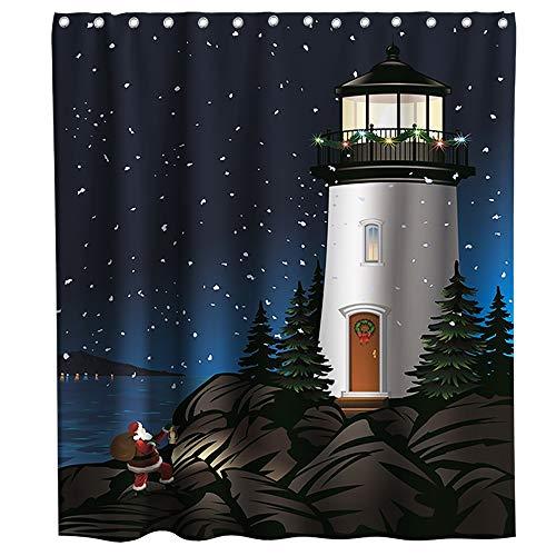 Ocean Coastal Santa Claus Lighthouse Christmas Shower Curtain Cloth Fabric Bathroom Decor Set with Hooks Waterproof Washable 72 x 72 inches Blue Black Brown (Bathroom Sets Sale Christmas)