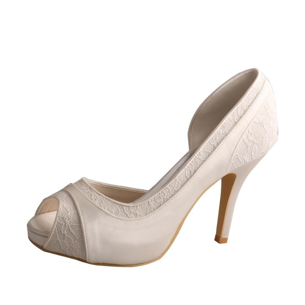 Wedopus MW702 Women High Heel Satin and Lace Pumps Open Toe Bridal Wedding Shoes Platform B01KVC0ZOM 8 B(M) US|Ivory