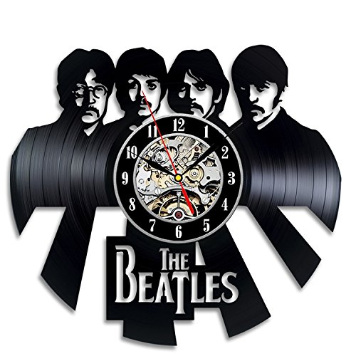 Beatles Band Design Wall Clock Made from Used Vinyl Record – Get Unique Home Room Wall Decor – Gift Ideas for Boys and Girls Unique Music Fan Art