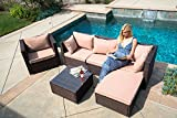 Belleze 6PCS Modern Outdoor Patio Wicker Aluminum Furniture Sofa Sectional Couch Set w/Cushion, Gray